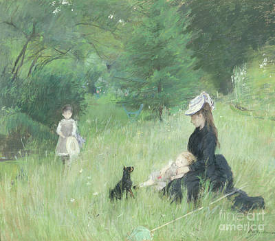 Dog In Landscape Painting - In A Park by Berthe Morisot