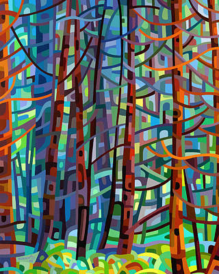 Abstract Painting - In A Pine Forest by Mandy Budan