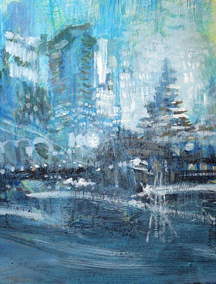 Painting - In A Winter Urban Park by John Fish