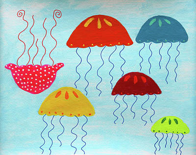 Painting - In A Sea Of Jellyfish It's Okay To Be Different by Deborah Boyd