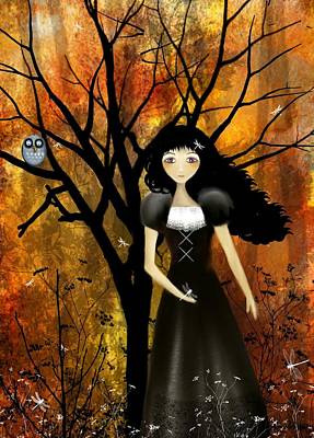 Goth Girl Digital Art - In An Autumn Forest by Charlene Zatloukal