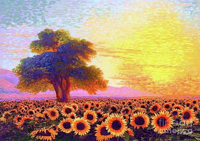 Mountain Paintings - In Awe of Sunflowers, Sunset Fields by Jane Small