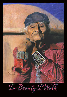 Pastel - In Beauty I Walk - Original Pastel - Navajo Medicine Man by Brooks Garten Hauschild