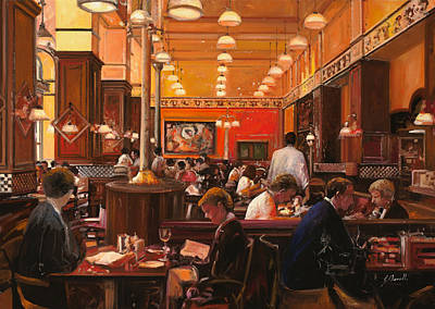 Brasserie Painting - In Birreria by Guido Borelli