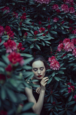 Red Lips Photograph - In Bloom II by Art of Invi