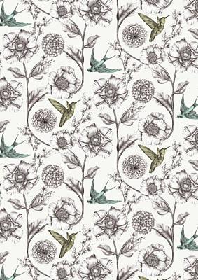Hummingbird Drawing - In Bloom by Stephanie Davies