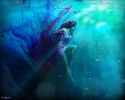 Digital Art - In Blue Depths  by Lilia D
