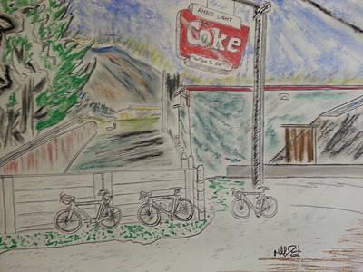 Mountain Biking Drawing - In Cawston by Michael David