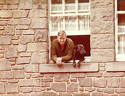 Photograph - In Edinburgh Scotland - A Scotsman And His Dog by Merton Allen