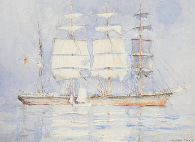 Sailboats Drawing - In Falmouth Bay by Henry Scott Tuke