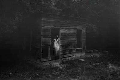 Dilapidated Photograph - In Fear She Waits by Tom Mc Nemar