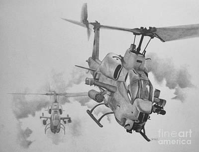 Helicopter Drawing - In From The West by Stephen Roberson