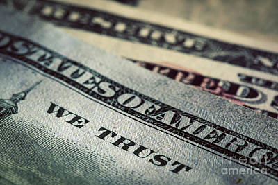 Cash Photograph - In God We Trust Motto On One Hundred Dollars Bill by Michal Bednarek