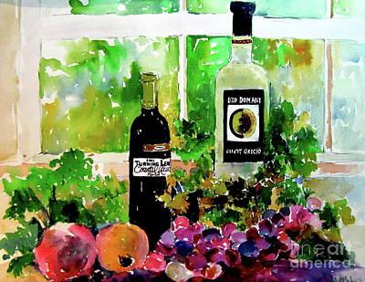 Italian Wine Painting - In Good Company by Patsy Walton