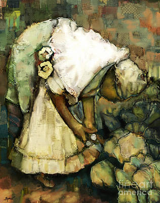 Rican Painting - In Her Garden by Carrie Joy Byrnes