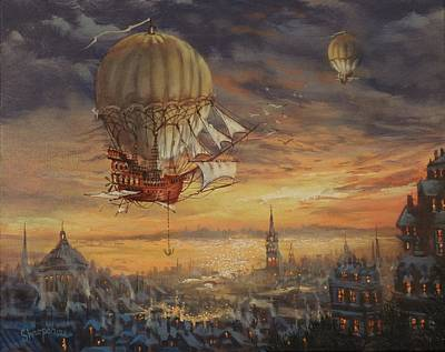 Painting - In Her Majesty's Service Steampunk Series by Tom Shropshire