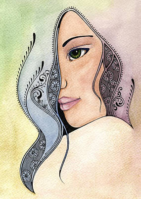 Indian Tribal Art Painting - In Her Shade by Nora Blansett