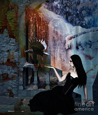Ice Castle Mixed Media - In Her Shadow Kingdom by Tammera Malicki-Wong