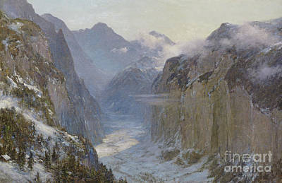 Lauterbrunnen Wall Art - Painting - In His Hands Are The Deep Places Of The Earth by Ernest Albert Waterlow