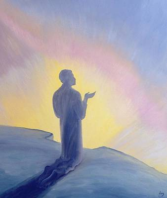 With Prayer Painting - In His Life On Earth Jesus Prayed To His Father With Praise And Thanks by Elizabeth Wang