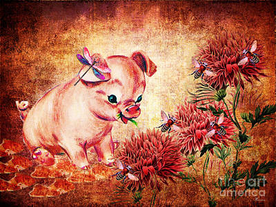 Piglets Mixed Media - In Hog Heaven by Tammera Malicki-Wong