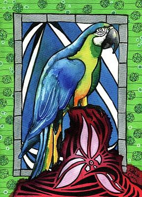 Painting - In Love With A Macaw by Dora Hathazi Mendes