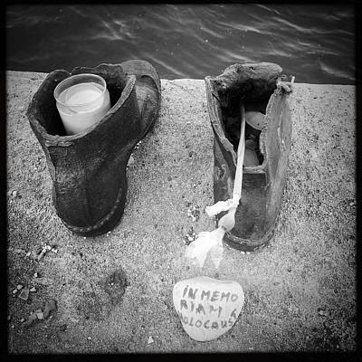 Grey Photograph - In Memoriam Holocaust - Shoes Memorial Budapest by Matthias Hauser