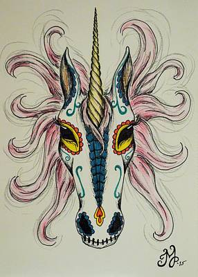 Drawing - In Memory Of The Long Lost Unicorn by Meganne Peck