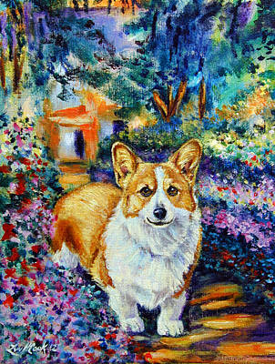 Herding Dog Painting - In Monet's Garden - Pembroke Welsh Corgi by Lyn Cook