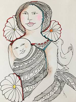 Wall Art - Drawing - In Mother's Arms by Rosalinde Reece