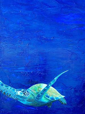 Sea Turtle Painting - In Motion by Kristen Ashton