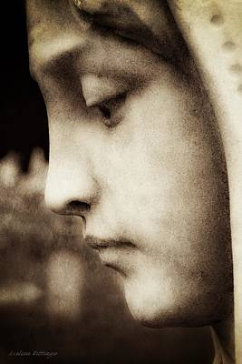 Woman In Cemetary Photograph - In Mourning Sepia by Melissa Bittinger