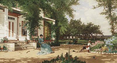 In My Neighbours Garden Art Print by Alfred Thompson Bricher