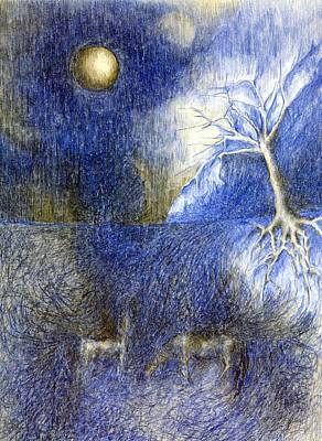 In Night On Meadow  Art Print