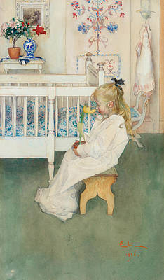 Painting - In Nightshirt - Lisbeth With A Yellow Tulip by Carl Larsson