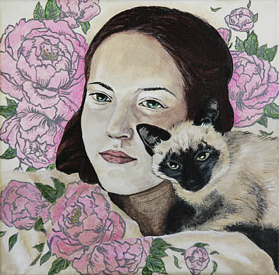 Painting - In Peonies With A Cat by Masha Batkova