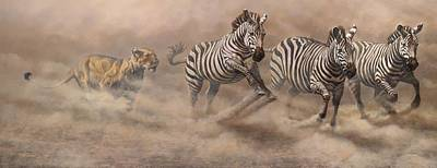 Animals Paintings - In Pursuit by Alan M Hunt