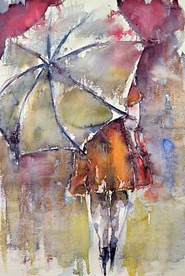 Umbrella Painting - In Rain by Kovacs Anna Brigitta