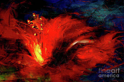 Painting - In Red Abstract Hibiscus by Shanina Conway