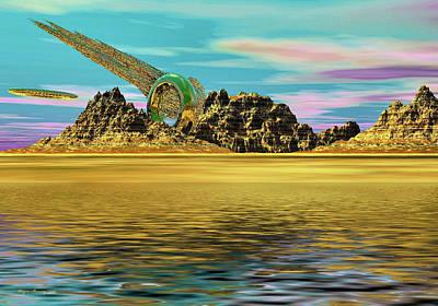 Spacescape Digital Art - In Search Of Gold by Wayne Bonney