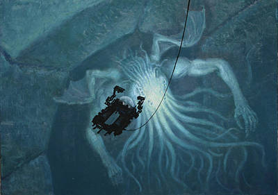 Painting - In Sunken R'lyeh Dead Cthulhu Lies Dreaming by Armand Cabrera