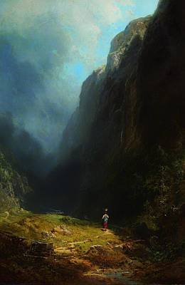 Basket Head Painting - In The Alpine High Valley by Mountain Dreams