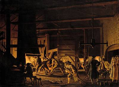 Pulley Painting - In The Anchor Forge At Sodefors - The Smiths Hard At Work by Mountain Dreams