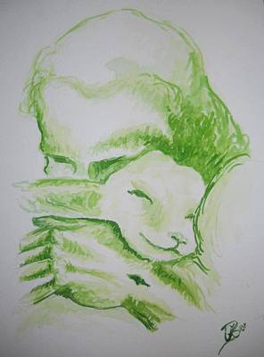 Comfort Painting - In The Arms Of My Shepherd by Kerstin Berthold