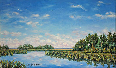 Tidal Creek Painting - In The Backwater by Stanton D Allaben