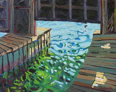 Pitch Painting - In The Boathouse by Phil Chadwick