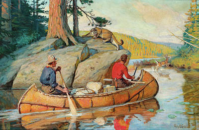 Philip Goodwin Painting - In The Canoe by Philip R Goodwin