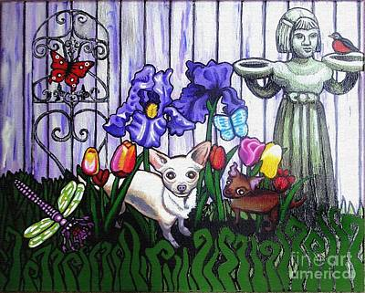 Pet Therapy Painting - In The Chihuahua Garden Of Good And Evil by Genevieve Esson