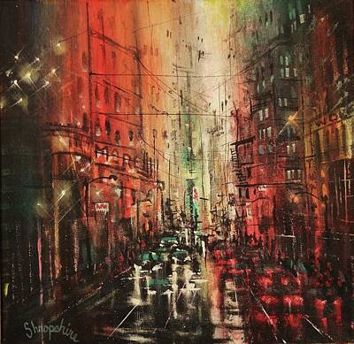 Winter In The City Painting - In The City Again by Tom Shropshire