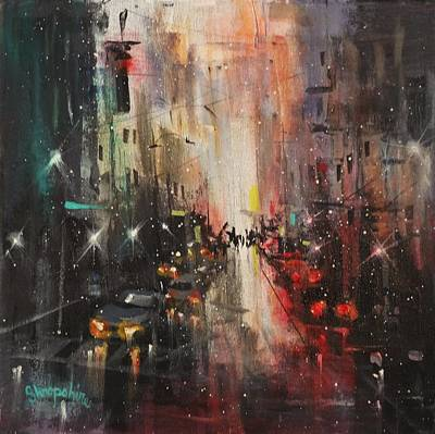 Winter In The City Painting - In The City by Tom Shropshire